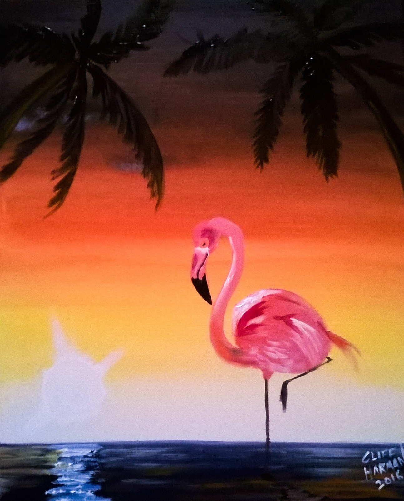 A26 Flamingo Sunset - Sip and Paint Parties in Bartlett, IL