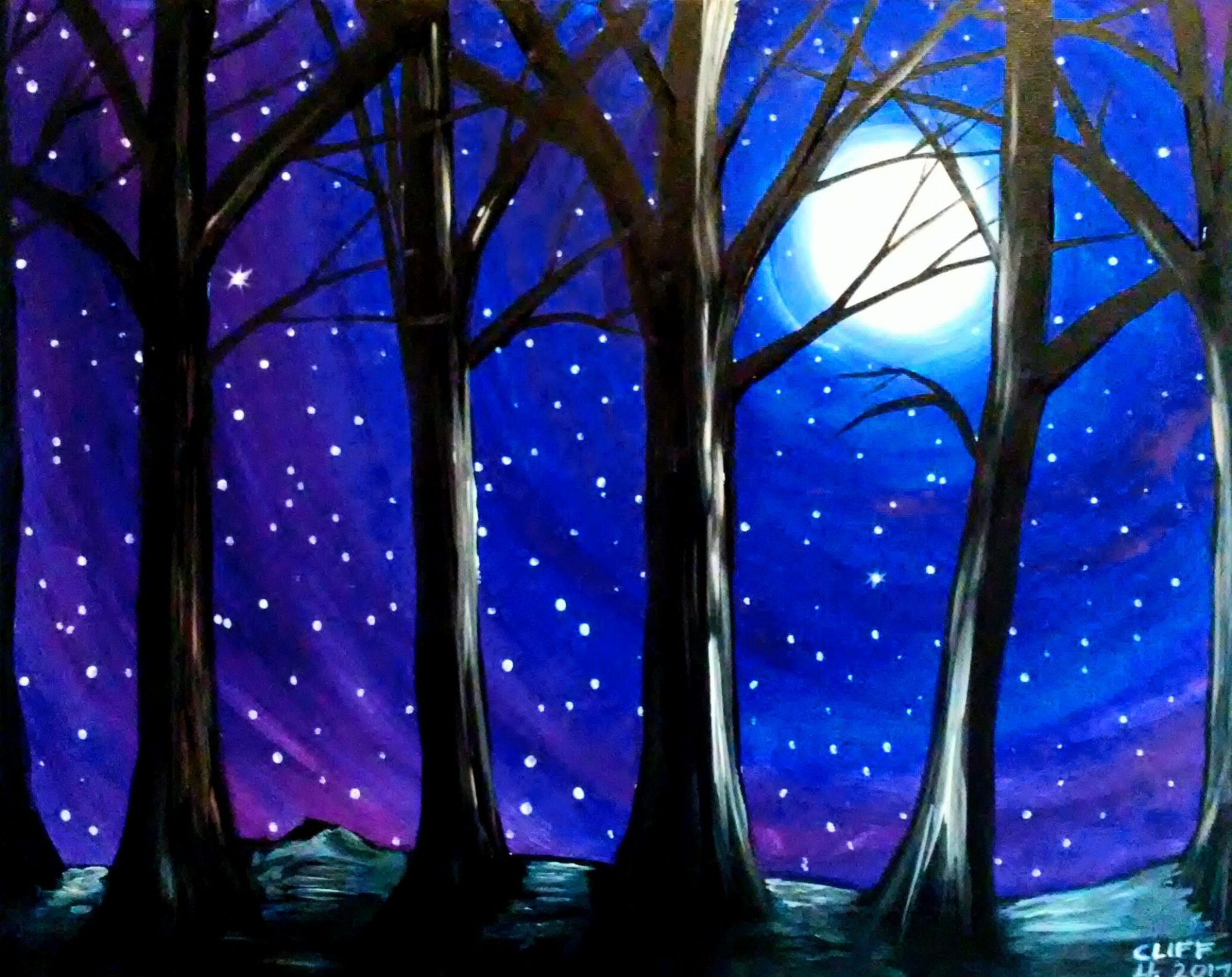 A60 Moon through the trees - Sip and Paint Parties in Bartlett, IL