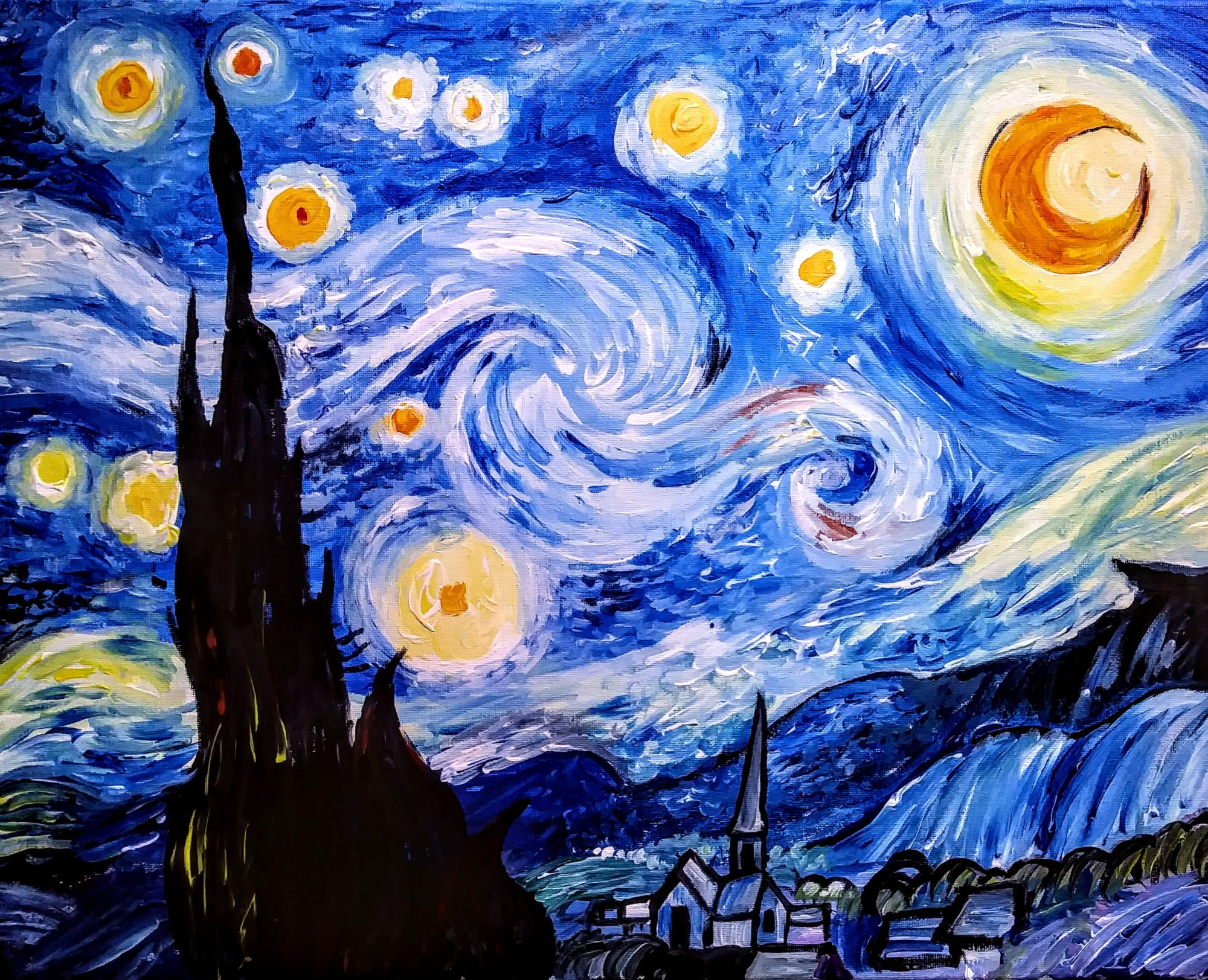 A92 Starry Night - Sip and Paint Parties in Bartlett, IL