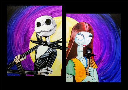 jack & sally, nightmare before christmas, sip & paint, paint parties, local activities, bars, BYOB