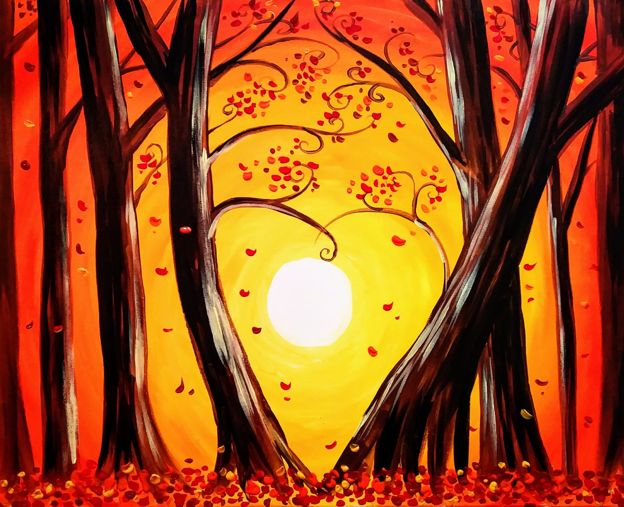B23 Lovely Autumn Trees  - Sip and Paint Parties in Bartlett, IL