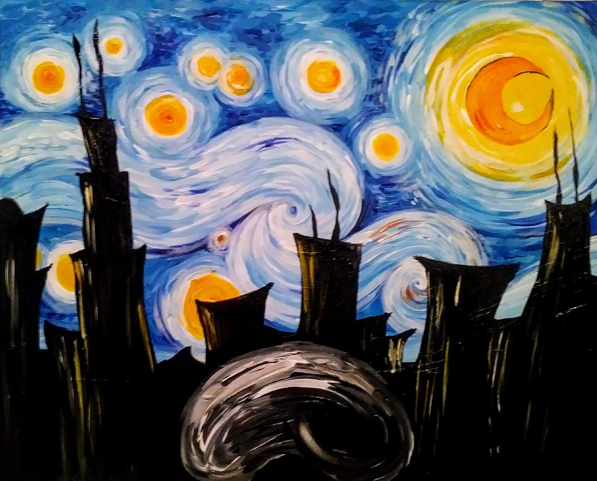 B33 Starry Chicago Night - Sip and Paint Parties in Bartlett, IL