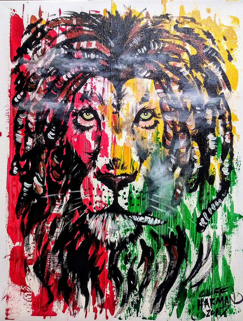 B43 Jamaican Lion - Sip and Paint Parties in Bartlett, IL
