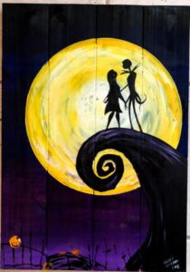 jack & sally, jack skellington, nightmare before christmas, halloween, sip & paint, paint parties. local activities, bars, BYOB