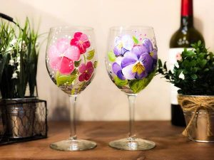 wine glass painting, sip & paint, local activities