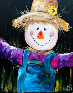 sip & paint, family friendly, paint parties, local activities, BYOB, bars, fall art, scarecrow