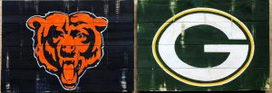 chicago bears, green bay packers, bears vs packers, wood signs, DIY, sip paint, paint and sip, paint parties, local activities, BYOB, bars