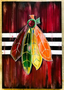 chicago blackhawks, wood pallet, sip & paint, paint party, local activities, bars, BYOB,