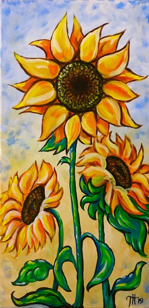 sip & paint, local activities, bars, BYOB, paint parties, sun flowers